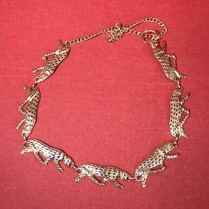 Vintage Leopard Gold Metal Chain Belt